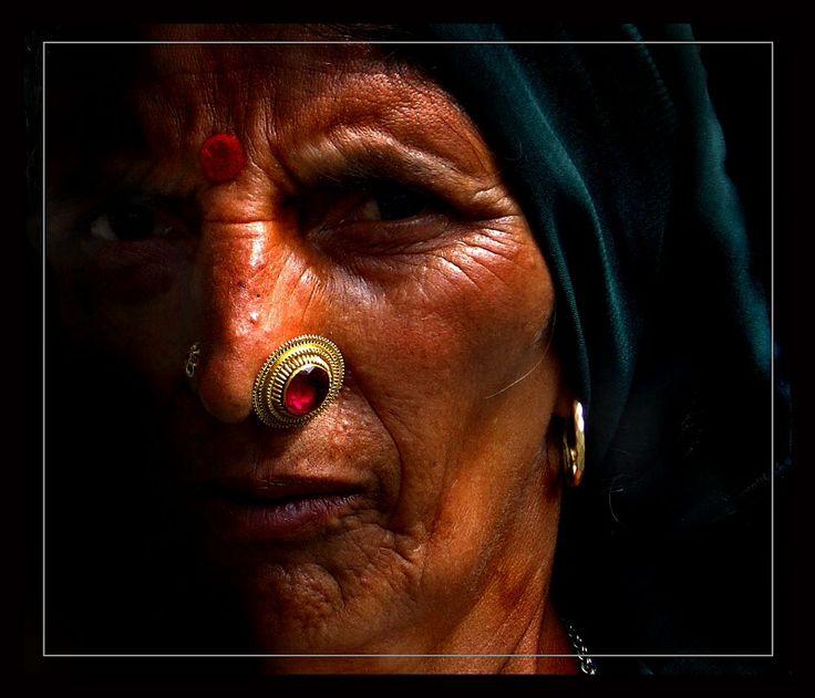 Himachal Pradesh lady wearing big stone Nose pin
