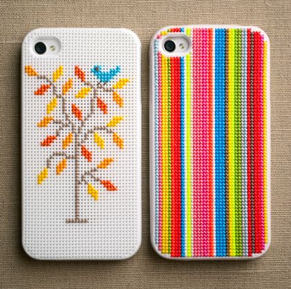 DIY cross stitch iPhone cases on the Purl Bee