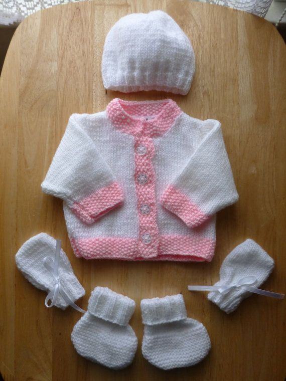 Hand Knitted Baby Cardigan, Hat, Mitts and Booties Set (Pink)