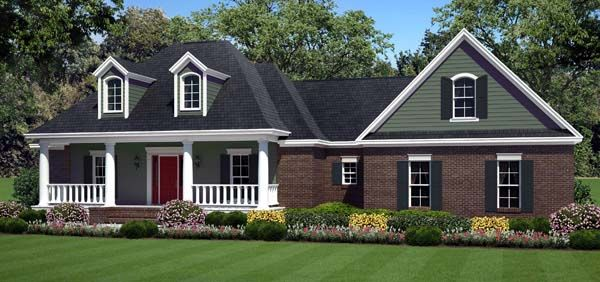 Country Farmhouse Southern Traditional House Plan 59211