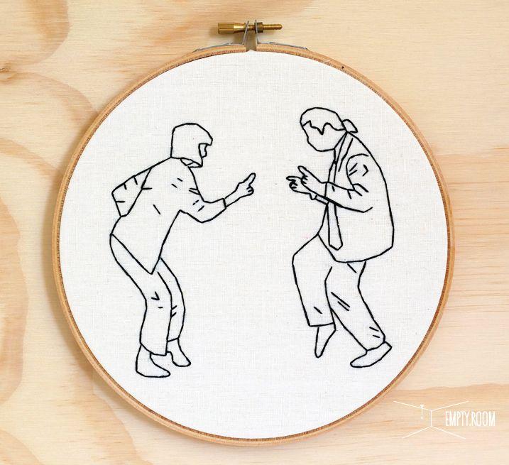 Embroidery Hoop Art Jack Rabbit Slims Dance Contest, Pulp Fiction https://www.etsy.com/listing/202111558/pulp-fiction-hand-embroidery-hoop-art