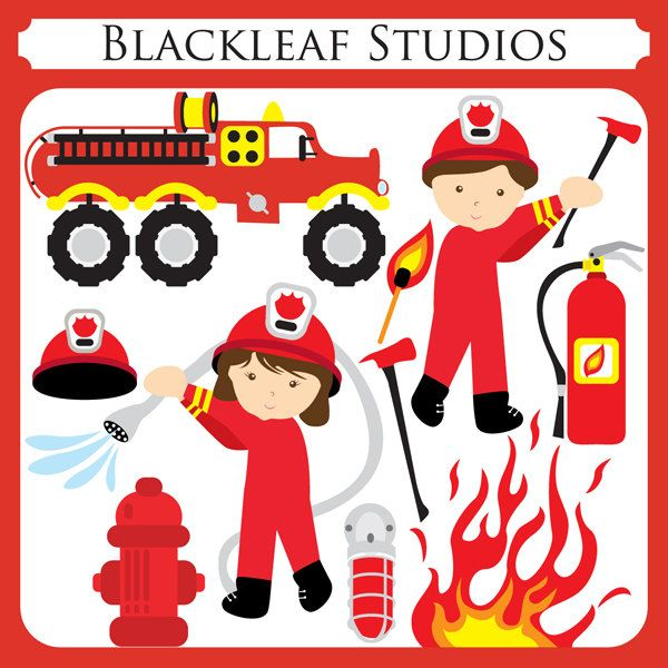 Fire Fighters - fire engine, boy, girl, extinguisher, water, safety gear, premade logo design - Personal and Commercial Use Clip Art. $5.00, via Etsy.