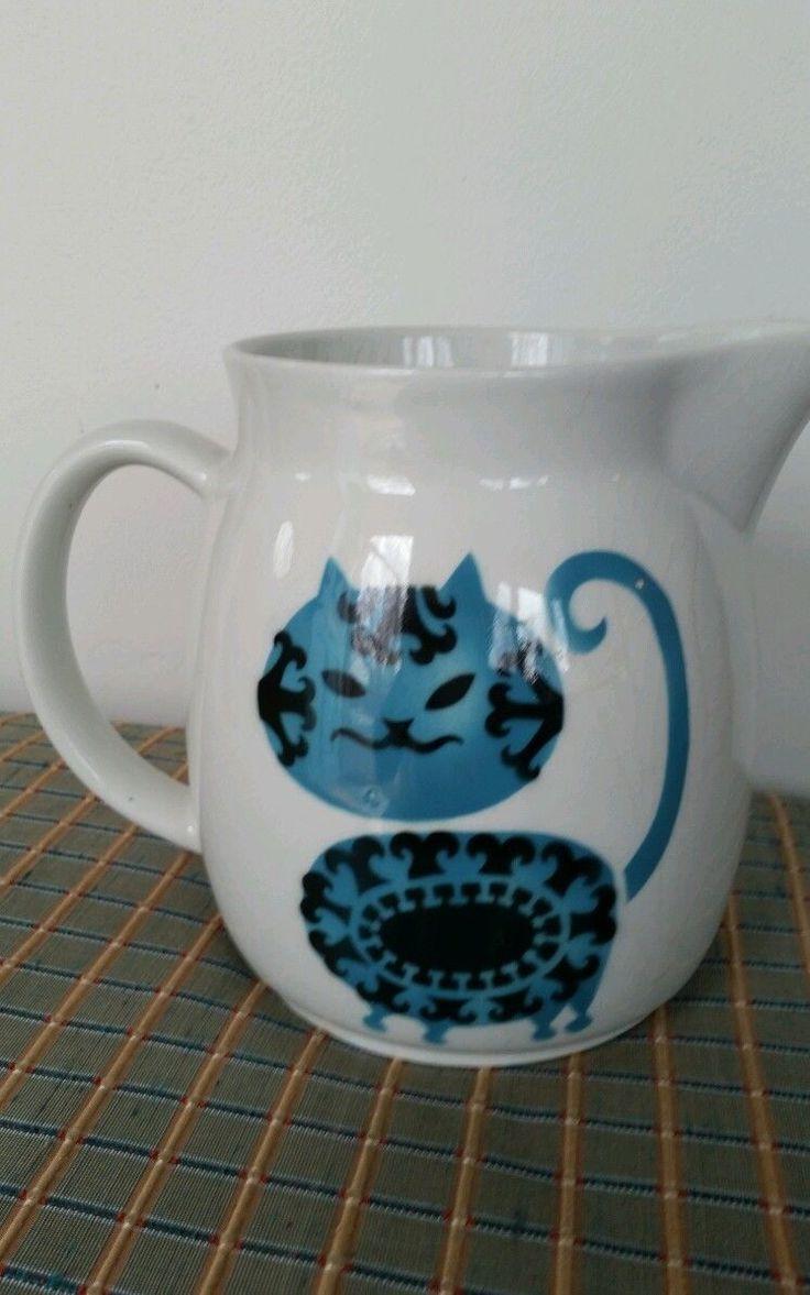 Kaj Frank Blue and Black Cat Large Pitcher by Arabia of Finland Ceramic Vintage   eBay