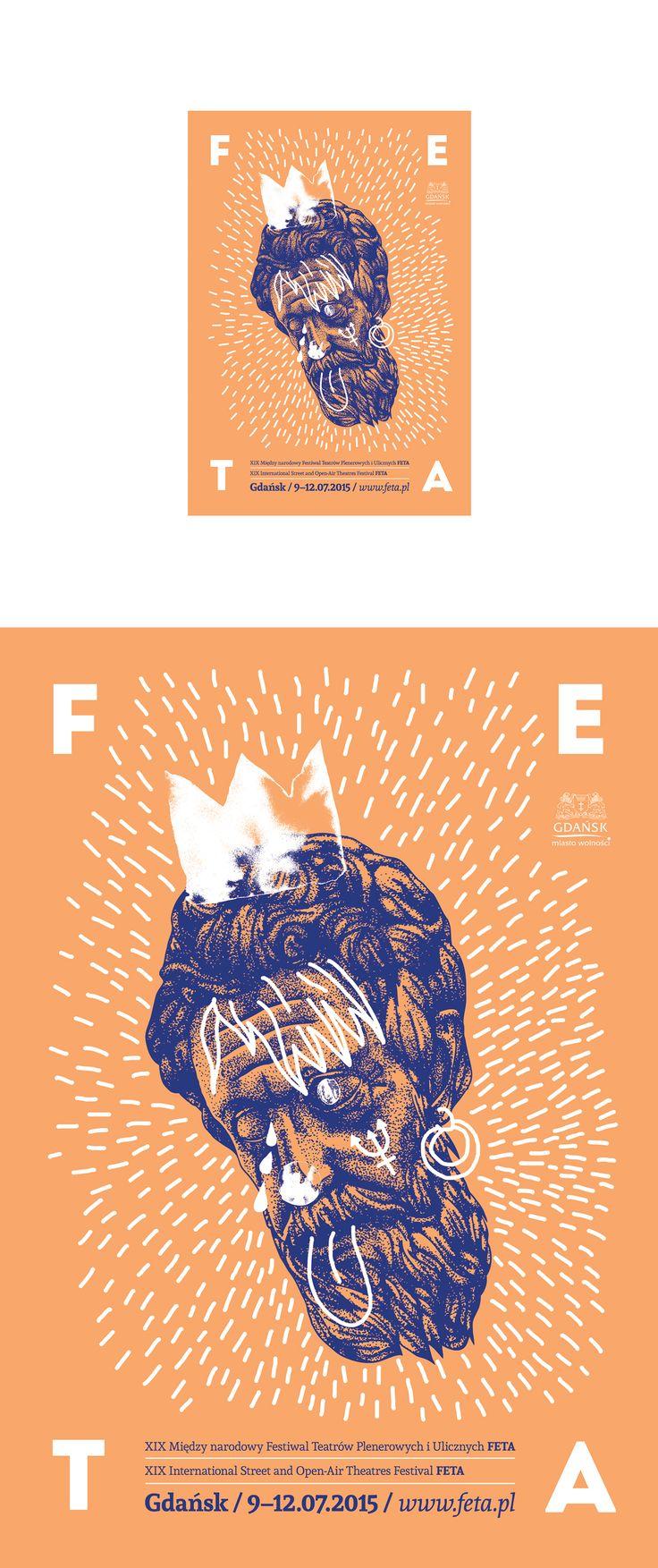 Poster for street theatre festival FETA made for Poster Design classes, 2015