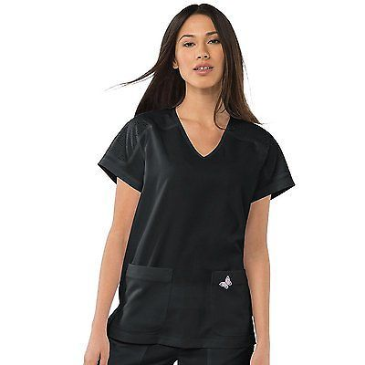 Tops 105440: Koi Mariposa Womens Cassie V-Neck Solid Scrub Top X-Large Black -> BUY IT NOW ONLY: $40.31 on eBay!