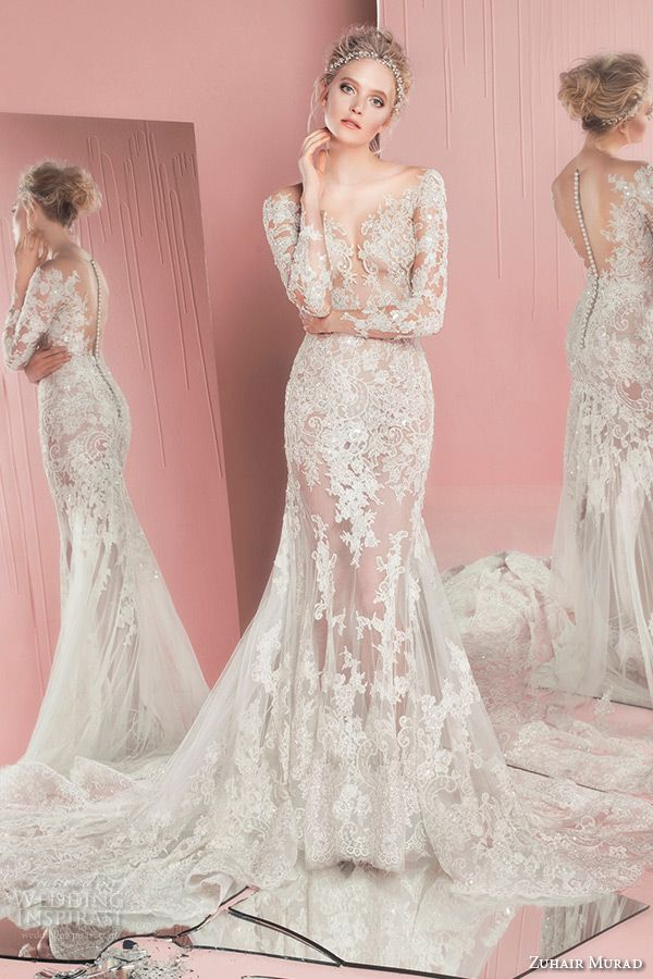 zuhair murad spring summer 2016 bridal long sleeves plunging neckline lace trumpet wedding dress patricia front view