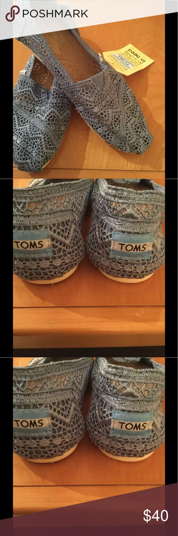 Tom's new blue crochet espadrilles . New with out box , there is a 2 tiny red marker lines and water damage spot after trying to clean it ( see picture ) on the insole of the one shoe , but that's don't effect the shoe . ❌Price firm Toms Shoes Espadrilles
