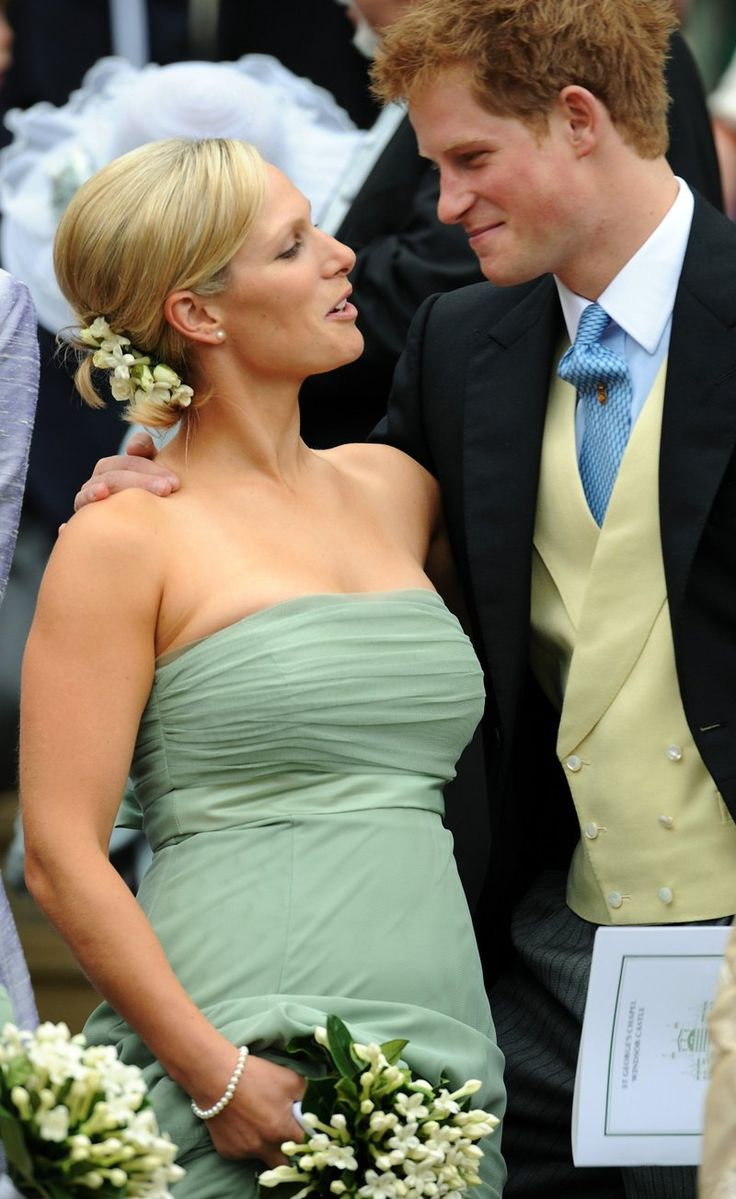 Cousins! Zara Phillips and Prince Harry at Peter and Autumn Phillips' wedding...I bet Prince Harry is a lot of fun...