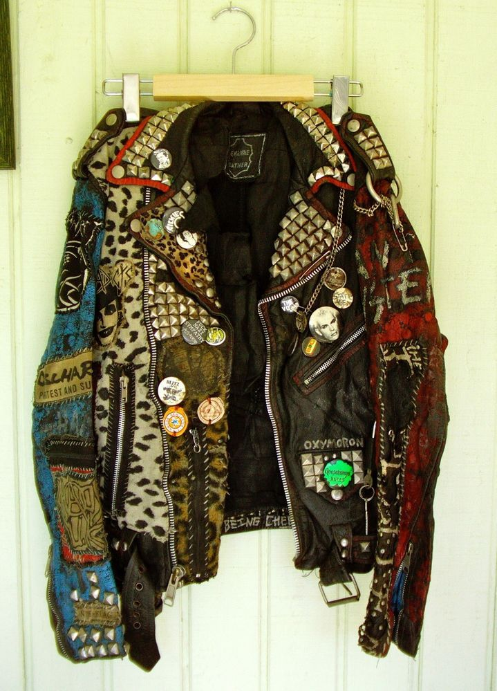 punk rock leather jacket - I swear this looks like the jacket my friend Stef wore...