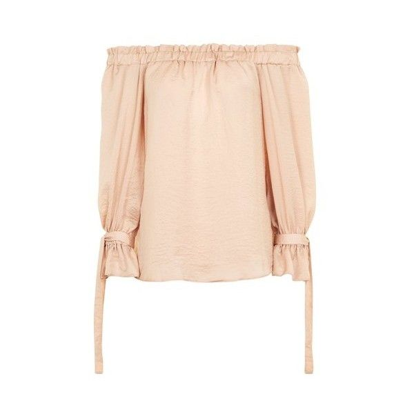 Topshop Tie Cuff Satin Bardot Top (€33) ❤ liked on Polyvore featuring tops, blouses, nude, off the shoulder tops, pink top, tie blouse, satin top and pink blouse