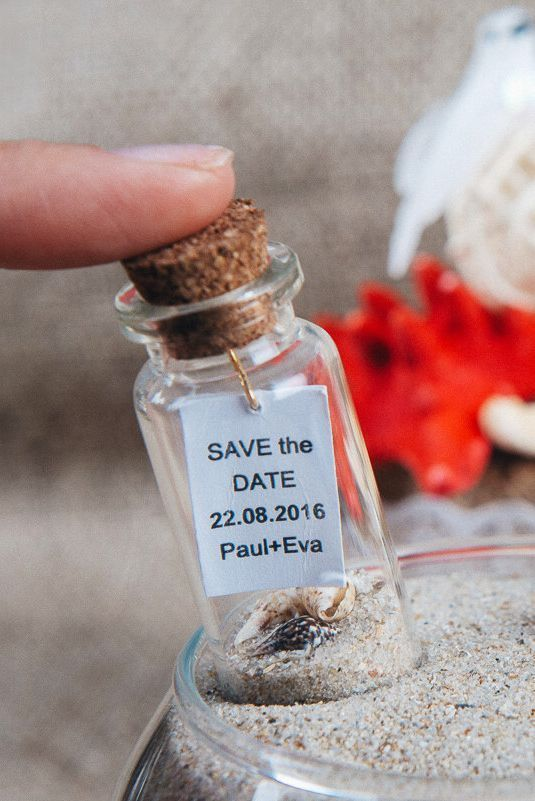 Save the date Beach wedding favors Wedding keepsake Save the date bottle Nautical wedding favors Beach in a bottle Invitations