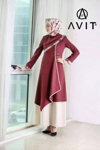 matched two color dress Avit hijab- Avit hijab fashion http://www.justtrendygirls.com/avit-hijab-fashion/