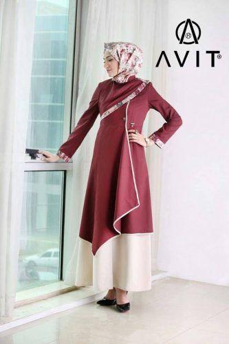 matched two color dress Avit hijab- Avit hijab fashion http://www.justtrendygirls.com/avit-hijab-fashion/