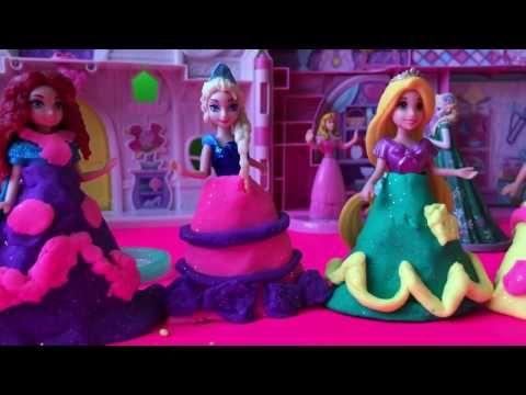 Play-Doh Sparkle Dresses Video Disney Magiclip Anna Elsa Merida Belle Cinderella - YouTube
