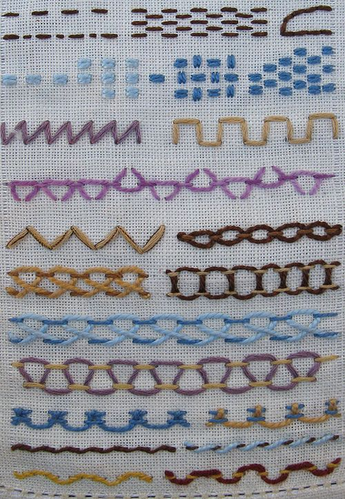 Crazy quilt / embroidery stitches  - Because you can never have too many ideas.  ~Klakso
