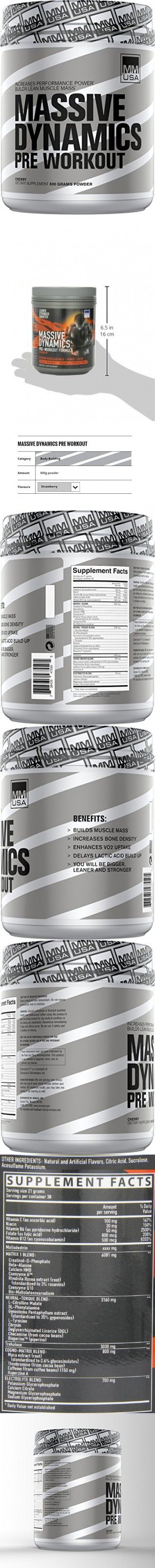 MMUSA Massive Dynamics Pre-Workout Diet Supplement Powder, Strawberry, 800 Gram