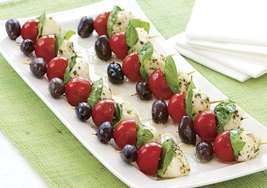 Try your hand at these Mini Pesto Caprese Kebabs!