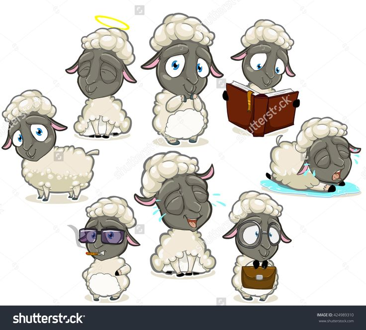 Big collection of dark sheep character with different emotions and poses isolated on the white background. Happy sheep, sheep is shying, smart sheep, crying sheep, reading sheep, smoking sheep