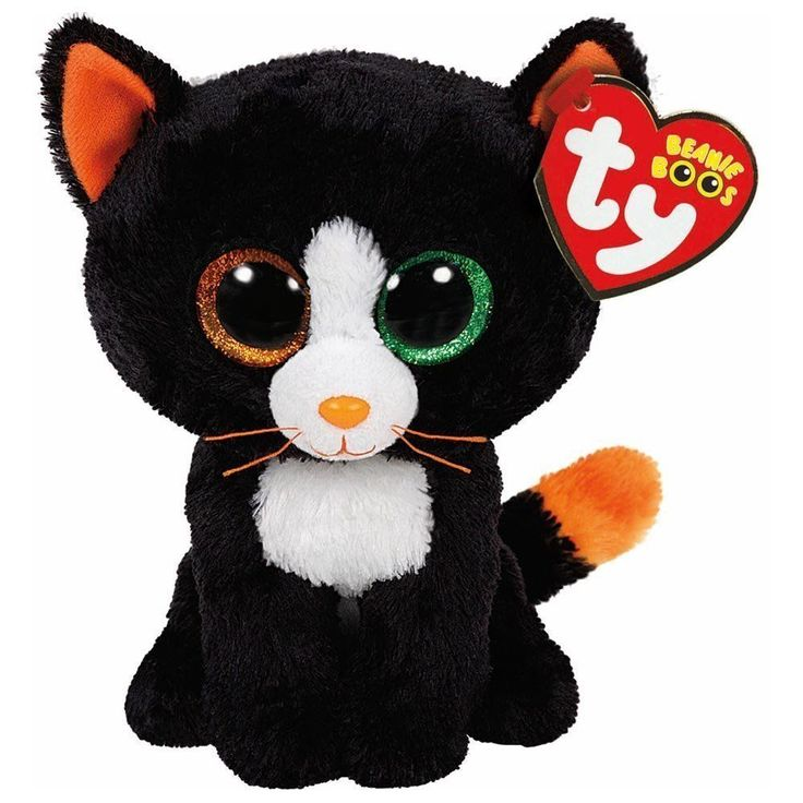 Ty Frights the Black Cat Halloween Beanie Boos Stuffed Plush Animal Toy #Ty