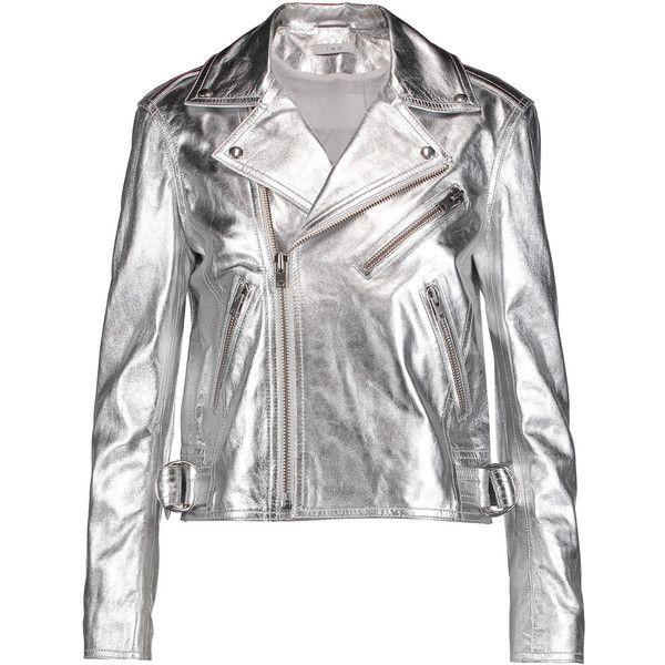 IRO Vanessa metallic leather biker jacket ($475) ❤ liked on Polyvore featuring outerwear, jackets, silver, leather biker jacket, slim motorcycle jacket, real leather jackets, rider leather jacket and leather moto jackets