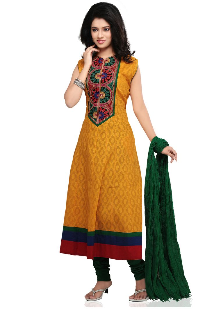 Mustard #Cotton Jacquard #Readymade #Churidar Kameez @ $70.08