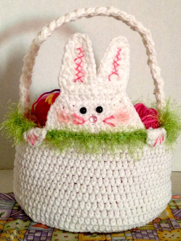 50 best projects to try images on pinterest knit crochet knit pattern for easter baskets peek a boo rabbit easter basket free pattern negle Gallery