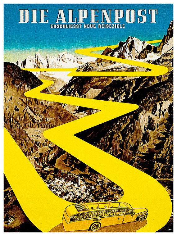 Travel Art Poster Swiss Alps Print Vintage Home by Blivingstons
