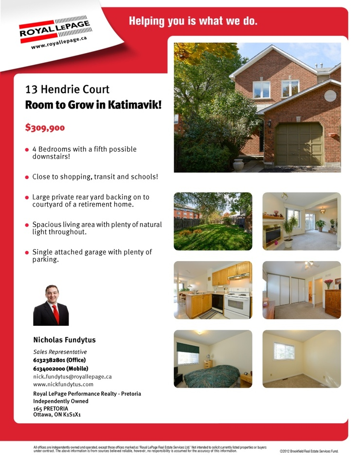 Feature Sheet for 13 Hendrie Court in Kanata, Ontario