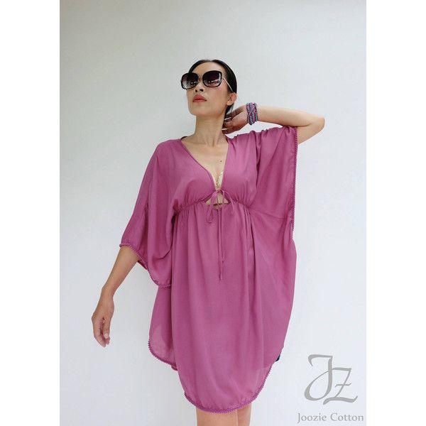 No.216 Dark Pink Rayon Stylish Kaftan Top Pom Pom Trim Beach Kaftan... (53 NZD) ❤ liked on Polyvore featuring silver, swimwear, women's clothing, beach caftan, beach kaftan and purple kaftan
