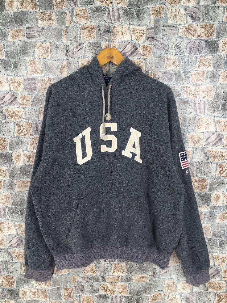 Vintage Polo Ralph Lauren Sweatshirt Hoodie Large 90's