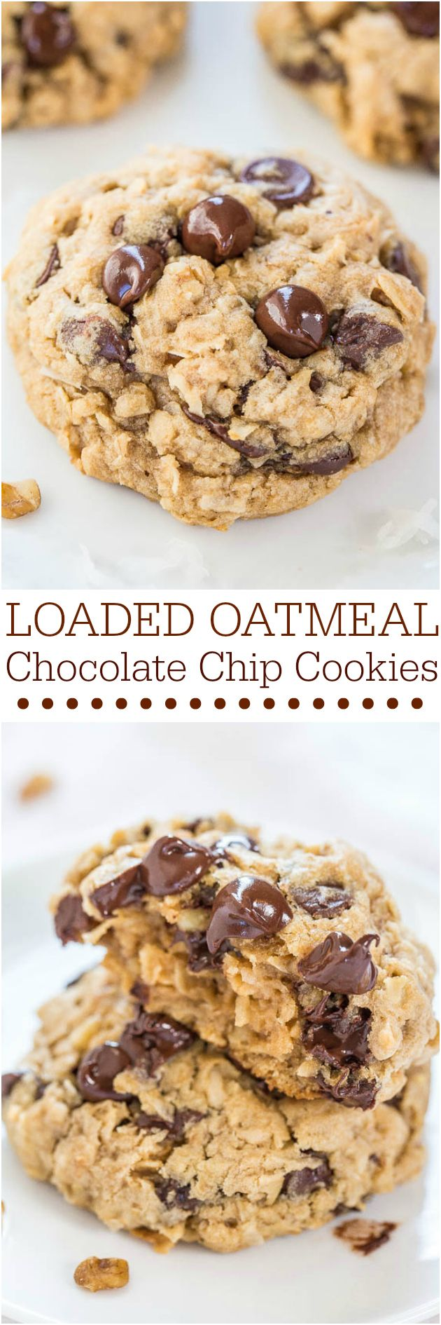 Loaded Oatmeal Chocolate Chip Cookies - Soft, chewy, and loaded with chocolate! Sinking your teeth into a thick, hearty cookie is the best!! They'll be a hit at your #MemorialDay #FathersDay #FourthofJuly parties!