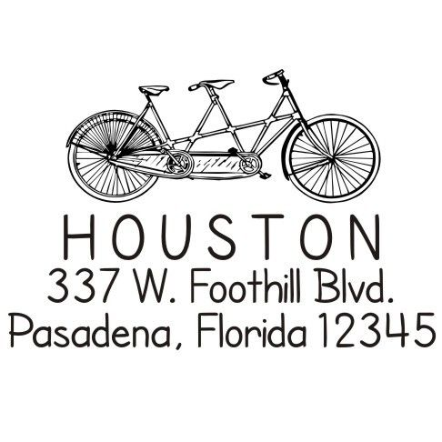 Too cute!! This is so us!    Tandem Custom Bike Return Address Rubber Stamp by stampoutonline
