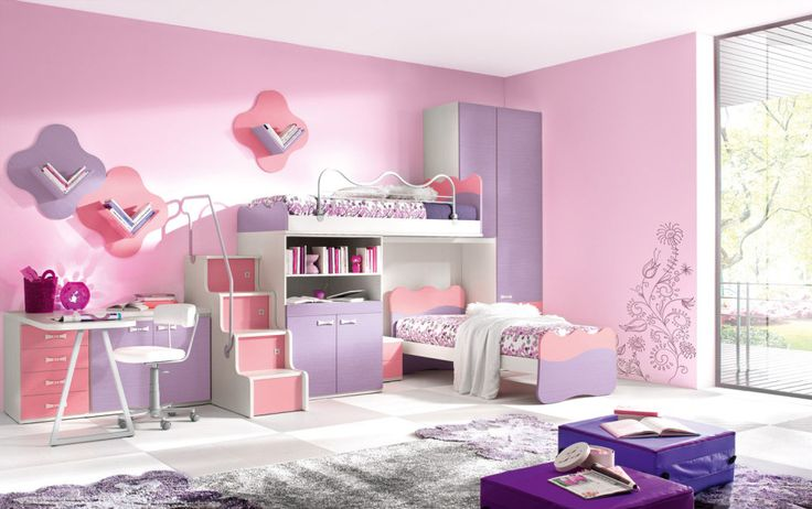 Girl Bedroom. Inspiring The Design Ideas And Contemplation When Obtaining Kids Bedroom Furniture: Excellent Combinations Pink And Purple Colour Concept For Girl Bedroom Color Ideas With Bunk Bed Grey Fur Rug And Minimalist Workspace ~ wegli