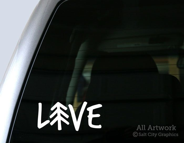 Live outdoors vinyl sticker vinyl decal recreationist love nature pine tree car decal laptop sticker window or bumper sticker