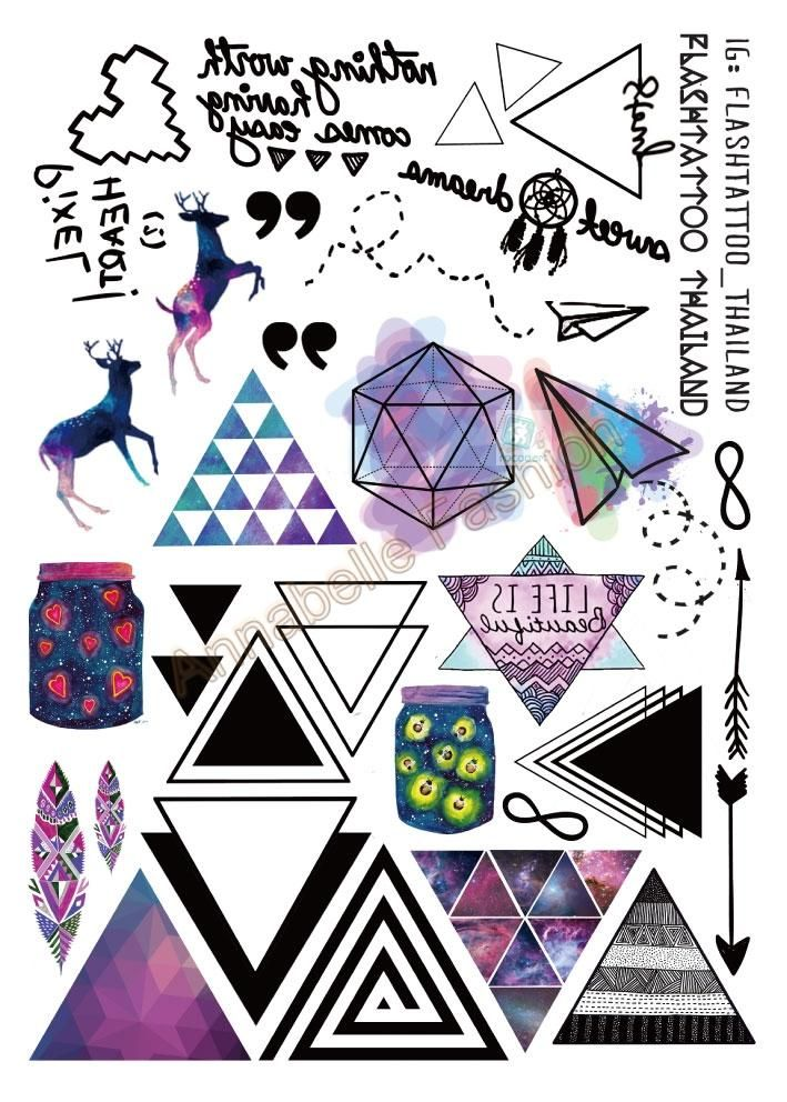 Taty tatuagem A6080-207 Besar Hitam Body Art Tattoo Temporary Stiker Berwarna Rusa Segitiga Panah Glitter Tatoo Sticker