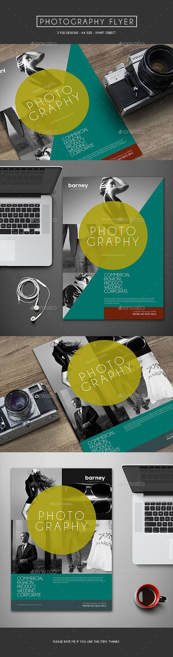 // Idee: VideoProduktion groß im Mittelpkt // Photography Flyer Template PSD #design Download: http://graphicriver.net/item/photography-flyer/13462152?ref=ksioks