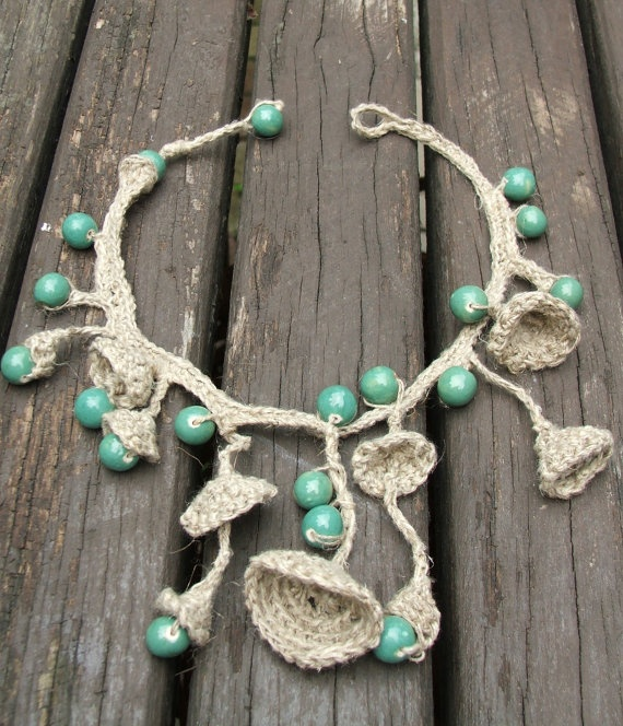 Boho Crocheted Necklace.