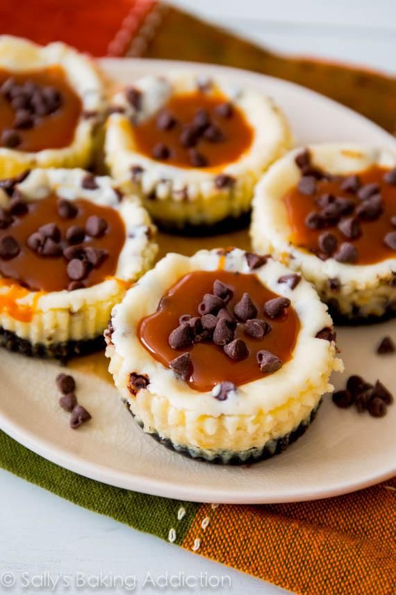 Mini chocolate chip cheesecakes with an Oreo cookie crust and homemade salted caramel. sallysbakingaddiction.com