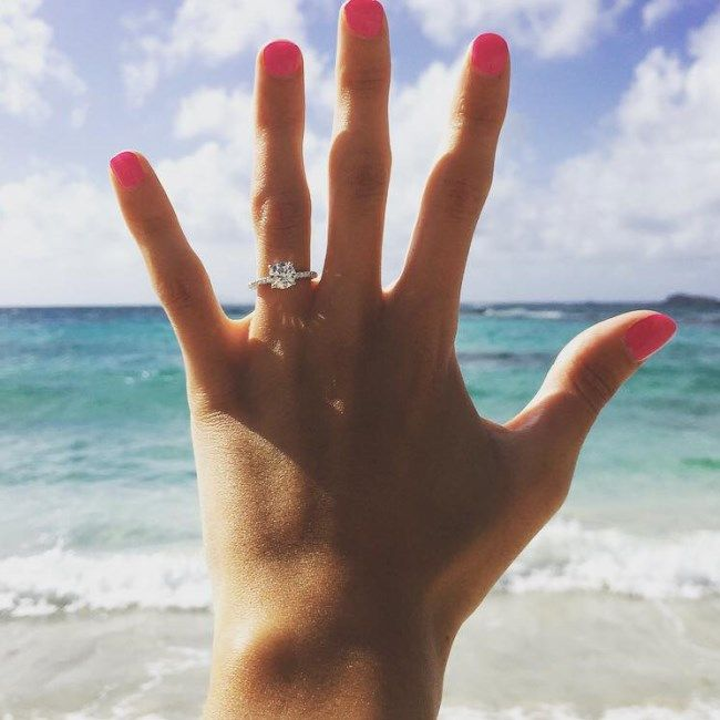Ashley and Noah from Richmond, Kentucky | Ready Ashley and Noah's beach proposal story in St. Martin/Maarten and see her pave engagement ring. #jamesallenrings #proposal #engagement