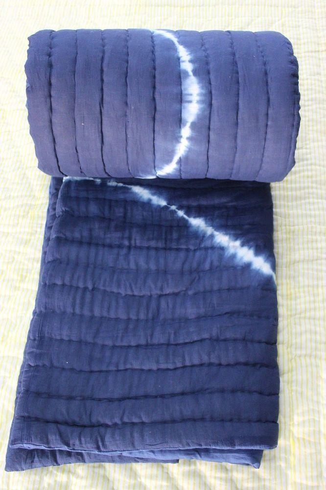 Exclusive Jaipuri Razai Shibori Print Indigo Blue Cotton Filling Quilt 2 Pcs Set