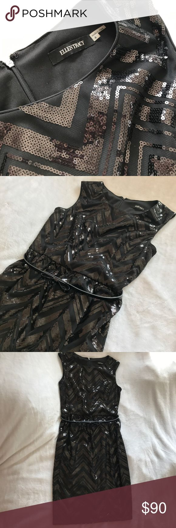 NWT Ellen Tracy Black Sequin Dress Brand new black dress with cute details. Chevron sequin pattern with a bow tie belt. In great condition. **If making offers, please use the offer button. Thanks!** Ellen Tracy Dresses