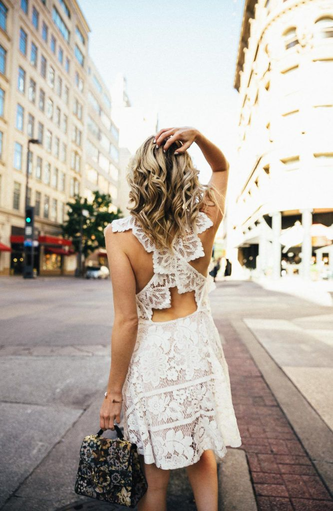White lace dress with criss cross back detail
