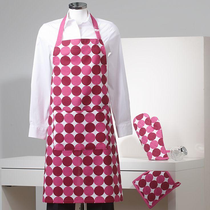 Delantal, paño para el horno y manopla. Diseño con estampados de topos www.sancarlos.es