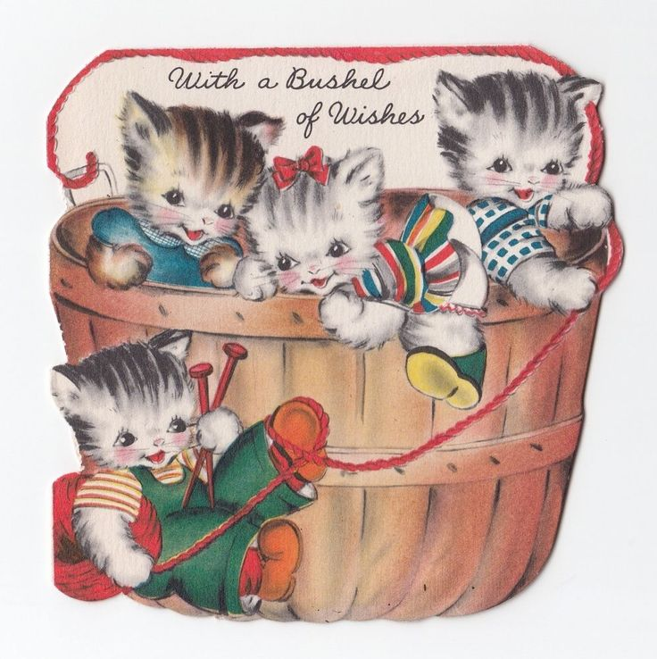 Vintage Greeting Card Cute Basket of Kittens Hallmark Die-Cut 1940s Cat a911