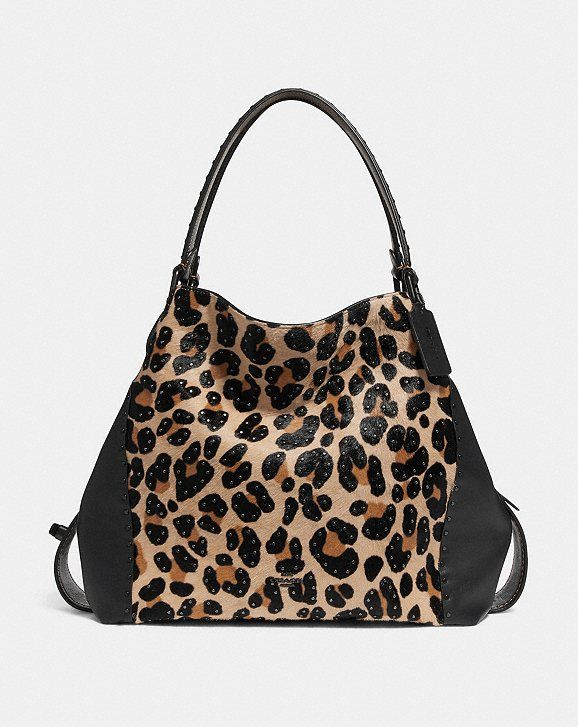 Coach E Shoulder Bag 42 W Embellished Leopard Print