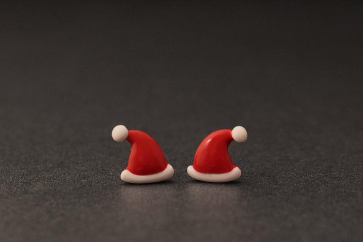 Santa Hat Earrings, Christmas Cute Studs, Polymer Clay Holiday Fashion. $20.50, via Etsy.
