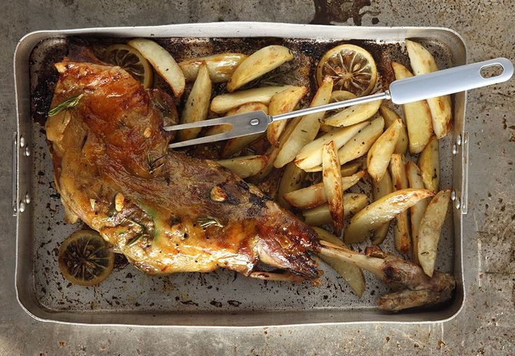 Honey Glazed Roasted Leg of Lamb with Potatoes! Do NOT be stingy with the salt and pepper. Season it generously!