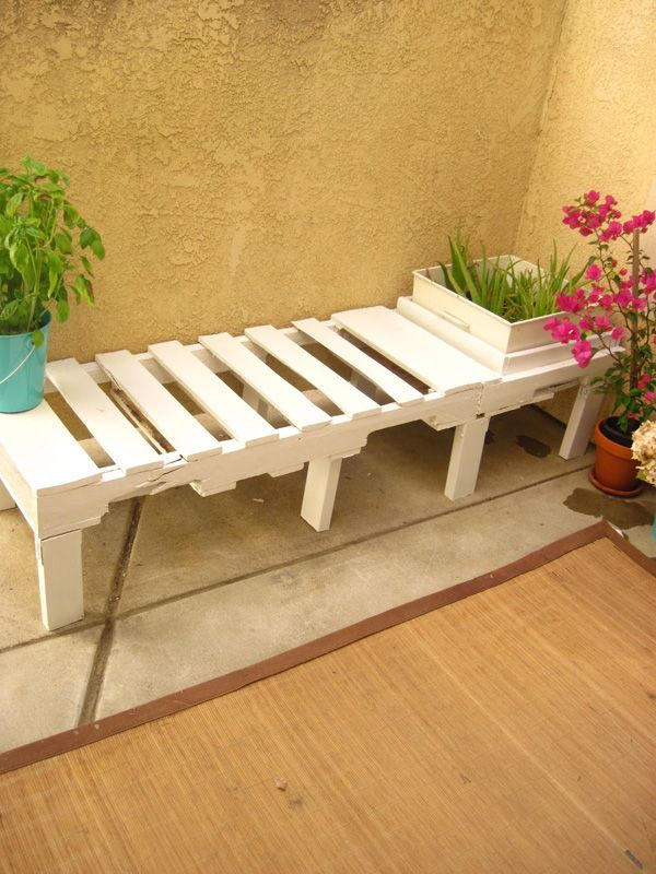 Bench.  Two or more pallets can make for a nice outdoor bench. They can be connected similarly as when building the bed frame or taken apart and built out of separate slats. Depending on the bench shape.