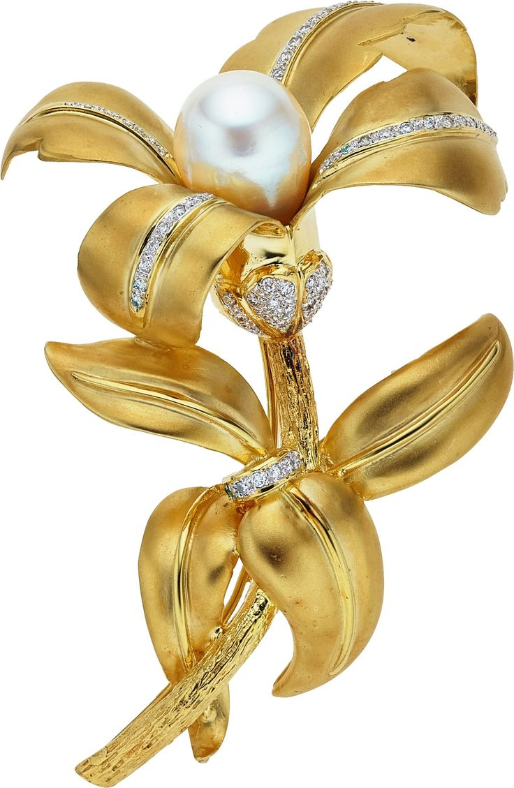 South Sea Cultured Pearl, Diamond and Gold Brooch
