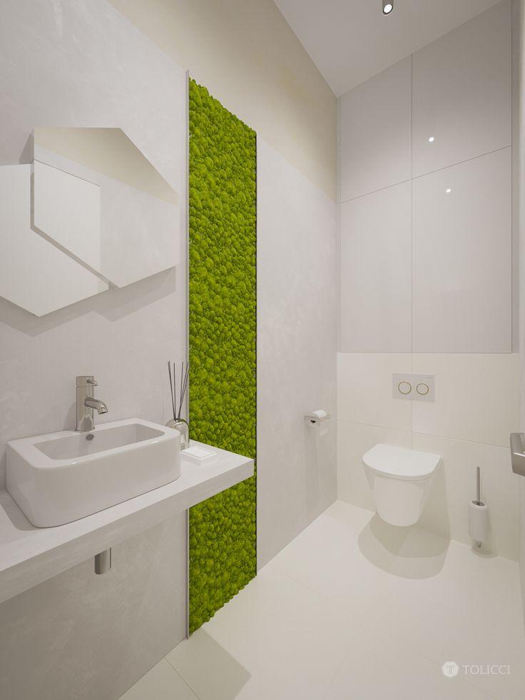 Toaleta s machovou stenou
